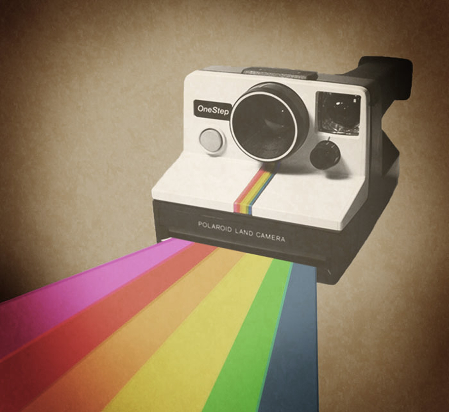 A photo of a 1980s polaroid camera with a rainbow coming out of it.