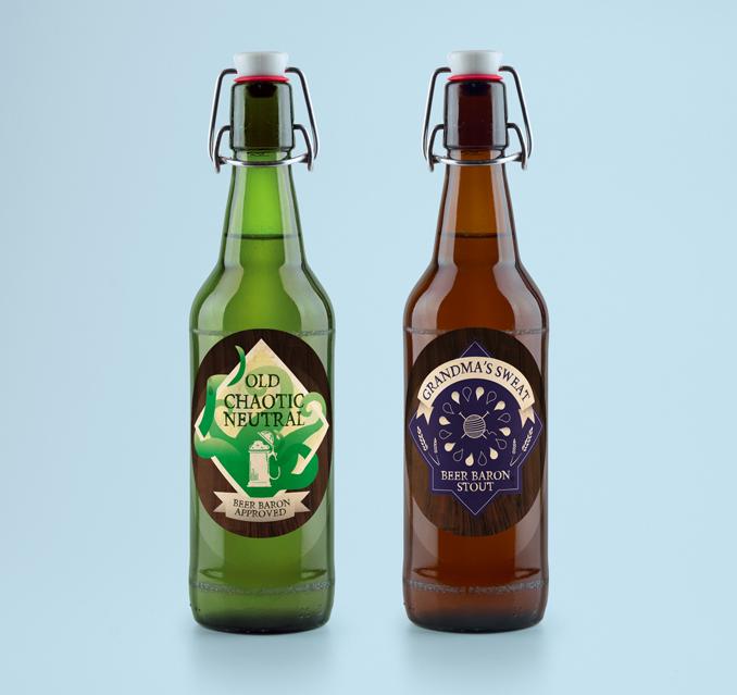 Beer bottles and labels